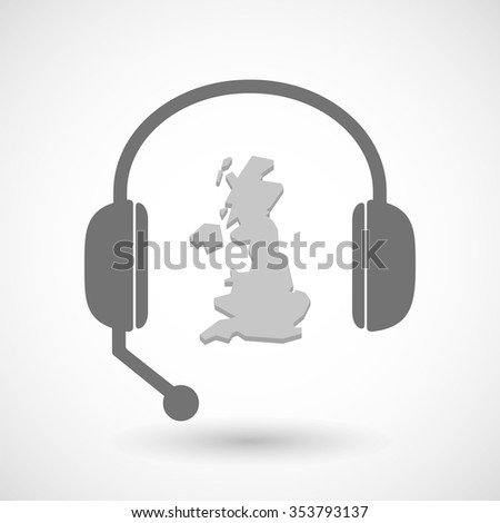 Illustration of a remote assistance headset icon with  a map of the UK  - stock vector