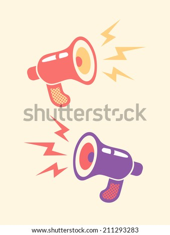 Illustration of a retro megaphone and lightning - stock vector