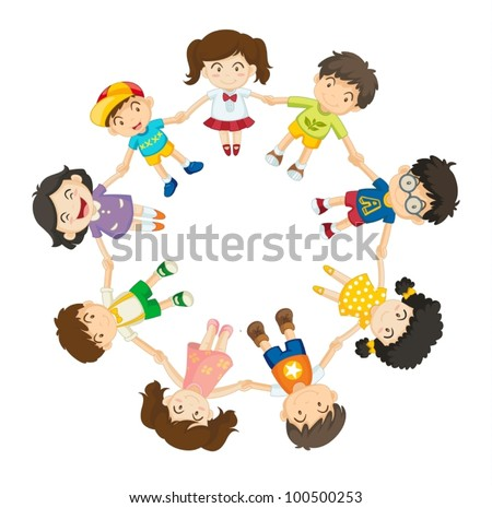 Illustration of a ring of children - stock vector