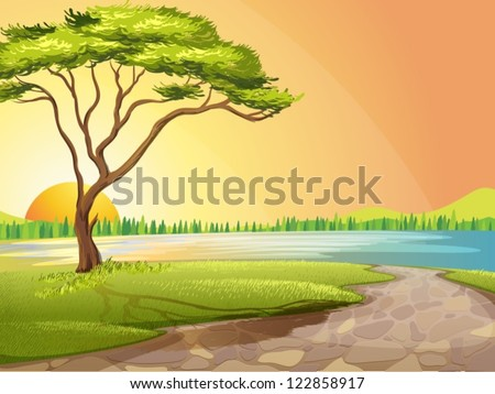 Illustration of a river and a tree in a beautiful nature - stock vector