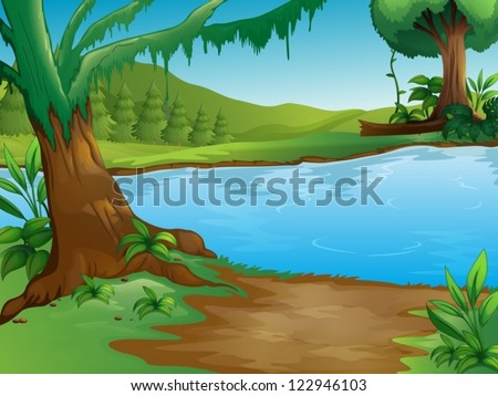 Illustration of a river in a beautiful nature - stock vector