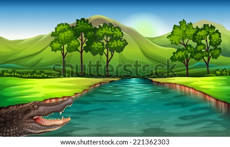 Illustration of a river with an alligator - stock vector