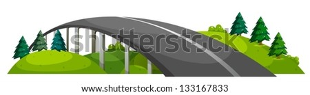 Illustration of a road at the hill on a white background - stock vector