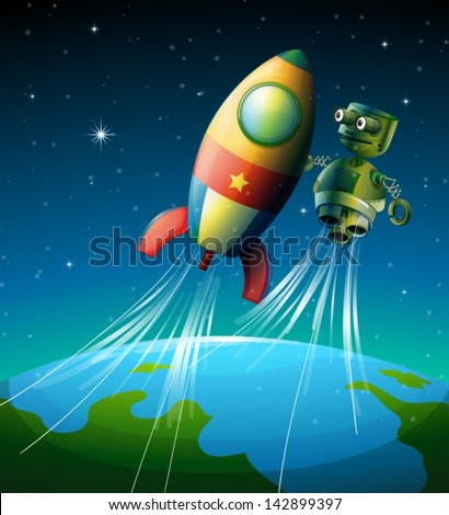 Illustration of a robot beside a spaceship - stock vector