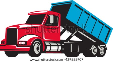 Illustration of a roll-off truck with container bin on back viewed from side set on isolated white background done in retro style.  - stock vector