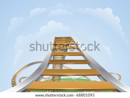 Illustration of a roller coaster from the highest view. Conceptual highs and lows or fear and trepidation. - stock vector