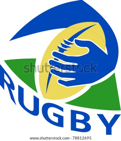 illustration of a rugby ball with hand holding grounding for try isolated on white - stock vector