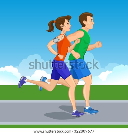 Illustration of a runners - couple running, health conscious concept. Sporty woman and man jogging - stock vector