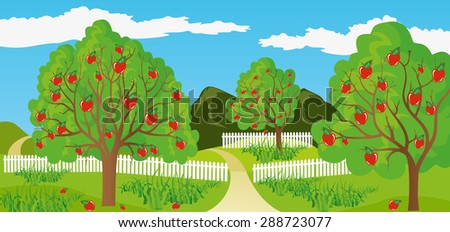Illustration of a rural landscape in a calm and tranquil environment - stock vector