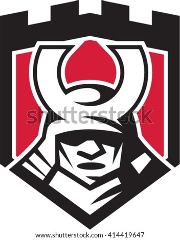 Illustration of a samurai warrior mask helmet viewed from front set inside shield crest done in retro style.  - stock vector