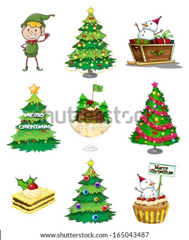 Illustration of a Santa elf with the other Christmas decorations on a white background - stock vector