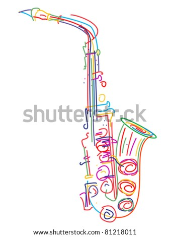 Illustration of a saxophone over white - stock vector
