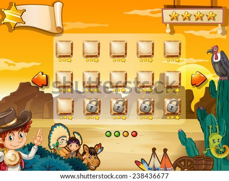 Illustration of a scene from a computer game with western background - stock vector