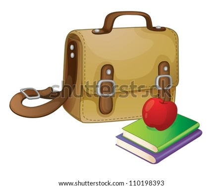 illustration of a school bag on a white - stock vector