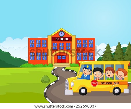 Illustration of a school bus and kids infront of school - stock vector