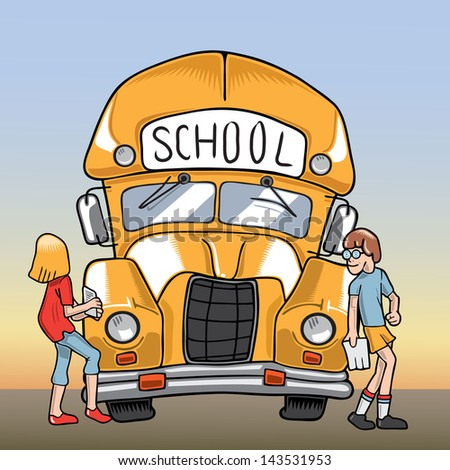 Illustration of a school bus and two students - stock vector