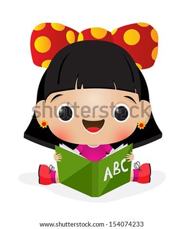 Illustration of a schoolgirl reading - stock vector