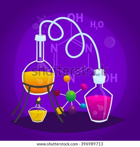 Illustration of a scientific experiment, produce, flasks, bottles, analyzes, test tubes, cartoon style. Vector illustration  - stock vector