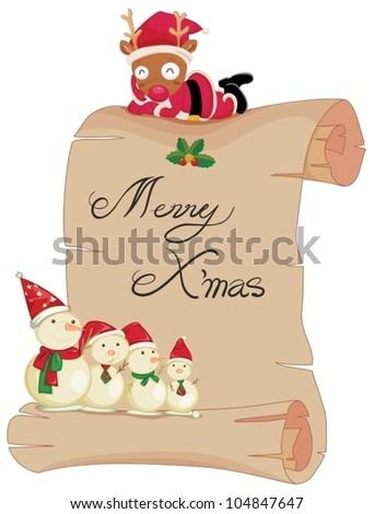Illustration of a scroll with merry christmas - stock vector