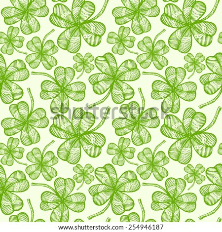 illustration of a seamless clovers pattern - stock vector