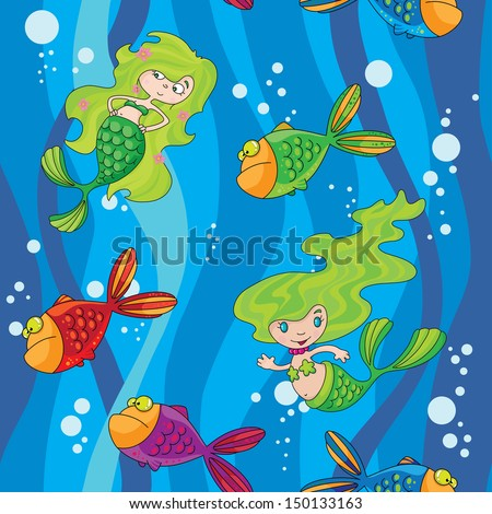 illustration of a seamless mermaids fish in water with waves - stock vector