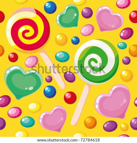 illustration of a seamless pattern cute candies - stock vector