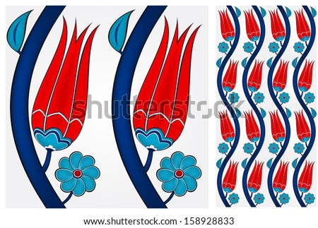 Illustration of a seamless Turkish tile. Tulip pattern. Eps10. - stock vector