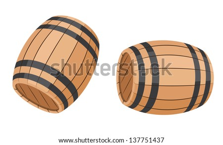 illustration of a set barrel - stock vector