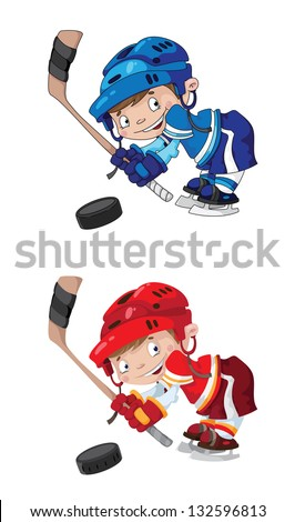 illustration of a set funny boy hockey - stock vector
