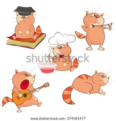 Illustration of a Set of a Cute Cartoon Cats for you Design. Cartoon Character - stock vector