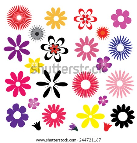 illustration of a set of colored flowers - stock vector