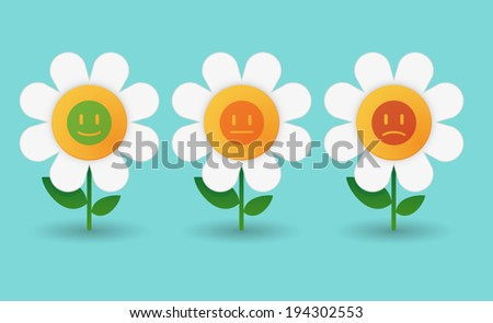 Illustration of a set of daisy icons - stock vector