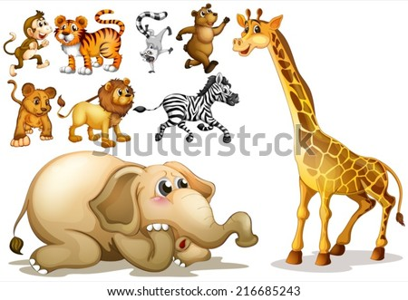 Illustration of a set of many animals - stock vector