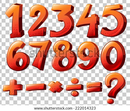 Illustration of a set of numbers and equations - stock vector