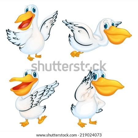 Illustration of a set of pelicans - stock vector