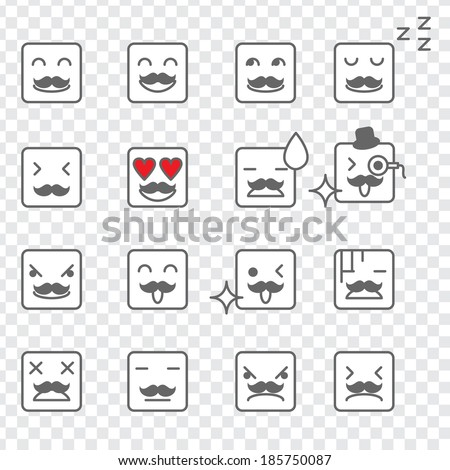Illustration of a set of square face emoticon - stock vector
