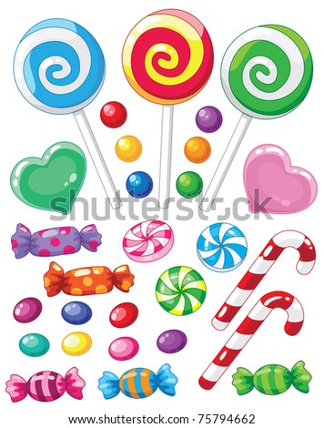 illustration of a set of sweets - stock vector