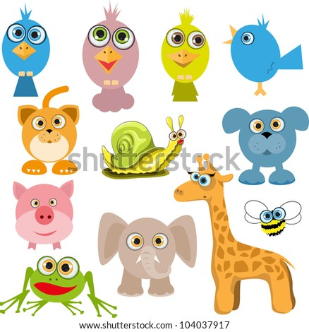 illustration of a set of various cartoon animals - stock vector