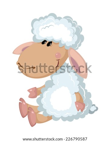 illustration of a sheep sits - stock vector