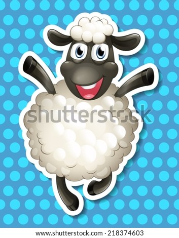 illustration of a sheep with background - stock vector
