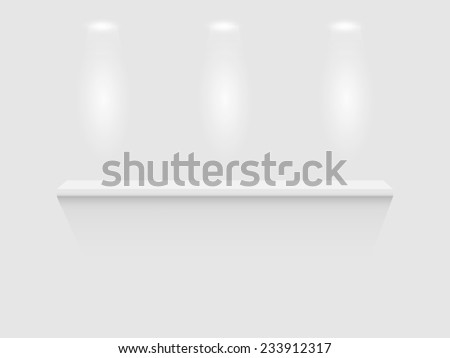Illustration of a shelf isolated on a white wall background. - stock vector