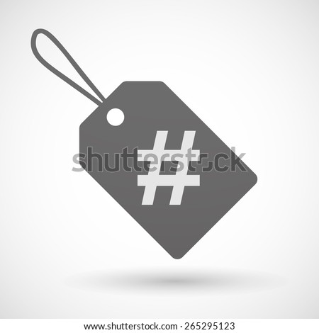 Illustration of a shopping label icon with a hash tag - stock vector