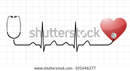 illustration of a sinus curve as a symbol for life and vitality with a heart and medical equipment - stock vector