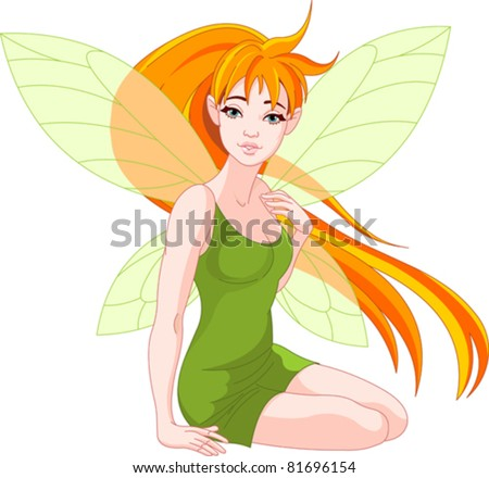 Illustration of a sitting young fairy - stock vector