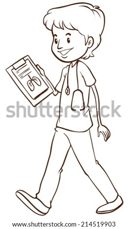 Illustration of a sketch of a simple doctor on a white background - stock vector