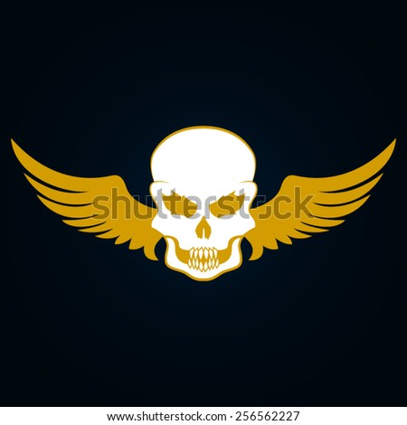 Illustration of a skull with wings - stock vector
