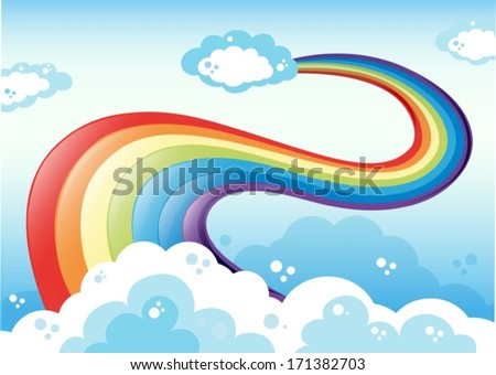 Illustration of a sky with a rainbow - stock vector