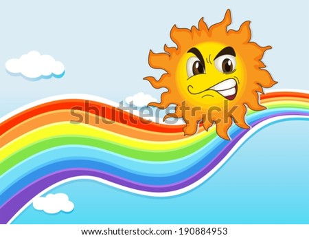 Illustration of a sky with a rainbow and an angry sun - stock vector