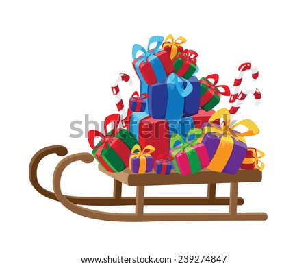 illustration of a sled with gifts - stock vector