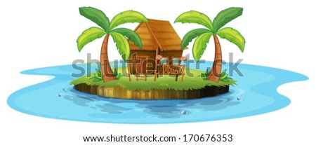 Illustration of a small nipa hut in an island on a white background - stock vector